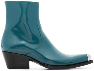 Calvin Klein Blue Tex Chiara 40 leather boots