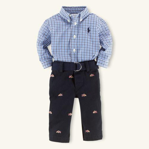 Baby Boy Button-Down Shirt & Pant Set