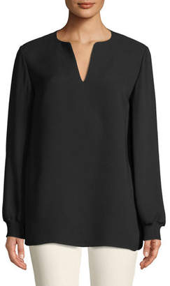 Lafayette 148 New York Roxy Double Georgette Blouse with Knit Cuffs, Plus Size