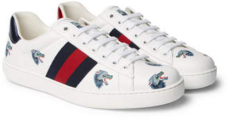 Gucci Ace Printed Leather Sneakers