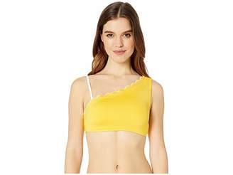 Kate Spade Fort Tilden Contrast Scalloped One Shoulder Bikini Top w/ Removable Soft Cups