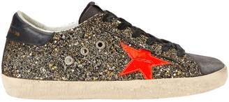 Golden Goose Superstar Black And Gold Glitter Low-Top Sneakers