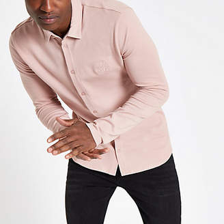 River Island Pink R96 muscle fit button-down shirt