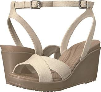 Crocs Women's Leigh II Ankle Strap Wedge W Sandal Black