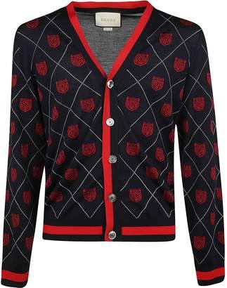Gucci Tiger Argyle Knit Cardigan