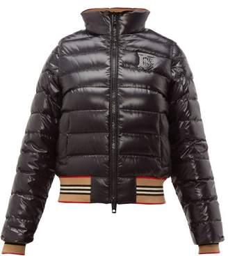 Burberry Icon Stripe Detachable Sleeve Down Jacket - Womens - Black Multi