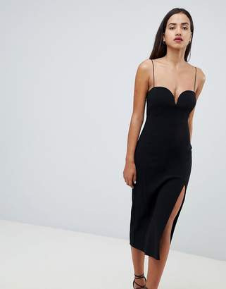 Bec & Bridge Plunge Neck Split Dress