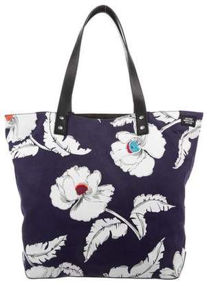 Jack Spade Poppy Floral Leather-Trimmed Canvas tote w/ Tags