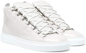 Balenciaga Arena Creased-Leather High-Top Sneakers
