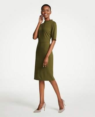 Ann Taylor Ruffle Neck Ponte Sheath Dress