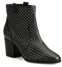 Rebecca Minkoff Sierra Studded Leather Block-Heel Booties $225 thestylecure.com
