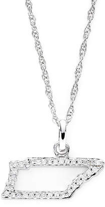 JCPenney FINE JEWELRY 1/10 CT. T.W. Diamond Sterling Silver Tennessee State Pendant Necklace