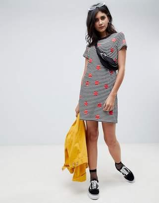 Noisy May Spot And Stripe Print T-Shirt Dress