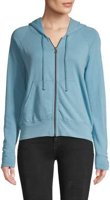 James Perse Full-Zip Cotton Drawstring Hoodie