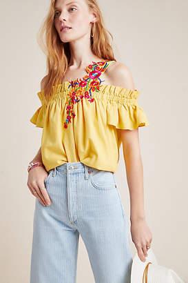 Mynah Designs Selena Embroidered Open-Shoulder Blouse