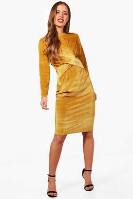 boohoo Petite Lottie twist Front Velvet Midi Dress