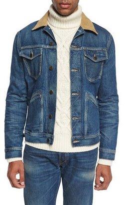 TOM FORD Denim Corduroy-Collar Jacket, Blue $840 thestylecure.com