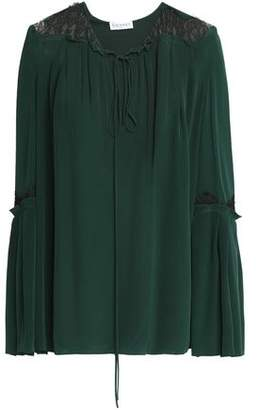 Vionnet Lace-Trimmed Washed-Silk Blouse
