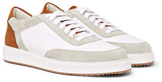 Brunello Cucinelli Full-grain Leather, Nubuck And Suede Sneakers - White