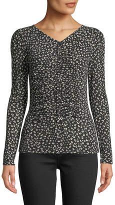 Rebecca Taylor Ruched Cheetah-Print Long-Sleeve Jersey Top