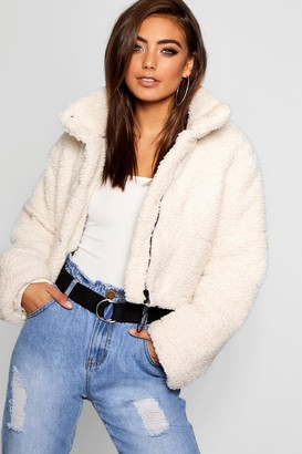 boohoo Crop Fleece Oversized Puffer Jacket