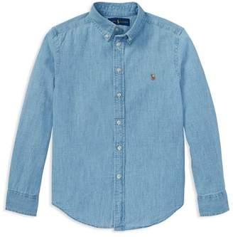 Ralph Lauren Boys' Chambray Button Down Dress Shirt - Big Kid