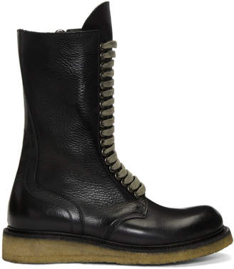 Rick Owens Black Para Sole Army Boots
