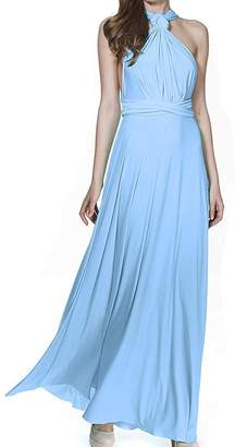 XAS Women Multi Way Wrap Convertible Transformer Infinity Bridesmaid Maxi Dress