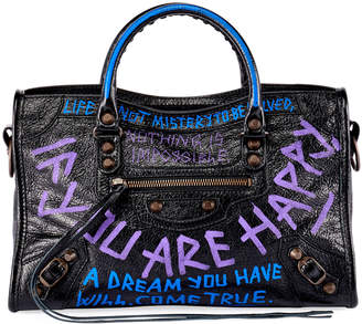 Balenciaga Metallic Edge City Small Graffiti Satchel Bag