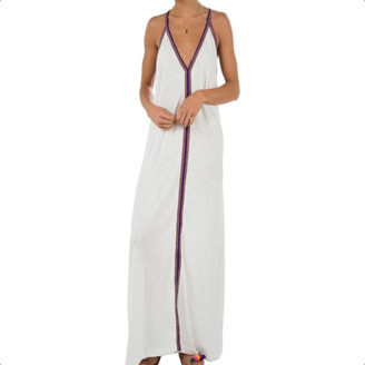 Pitusa White With Blue Braid Pima Sundress - O/S - White