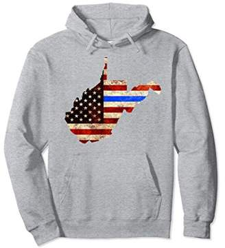 Police Thin Blue Line West Virginia USA Flag Map Hoodie