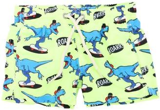 MC2 Saint Barth Neon Dino Print Nylon Swim Shorts