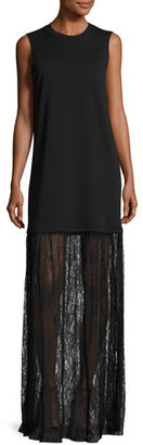 McQ Alexander McQueen Sleeveless Jersey & Lace Mixed-Media Maxi Dress, Black $435 thestylecure.com