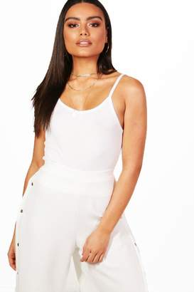 boohoo Basic Rib V Neck Crop