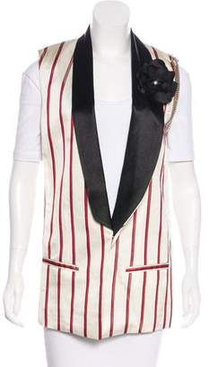 Lanvin Long-Line Striped Vest w/ Tags