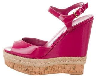 Gucci Patent Leather Ankle-Strap Wedges Magenta Patent Leather Ankle-Strap Wedges