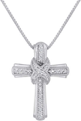 Silver Cross FINE JEWELRY 1/10 CT. T.W. Diamond Sterling Pendant Necklace