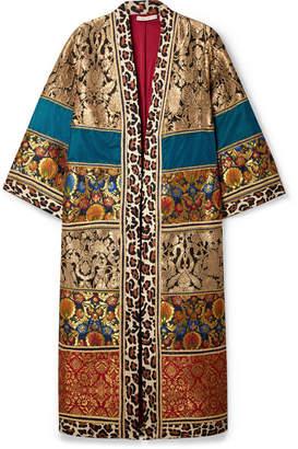 Alice + Olivia (アリス オリビア) - Alice + Olivia - Lynn Leopard-print Cotton-trimmed Jacquard Kimono - Gold