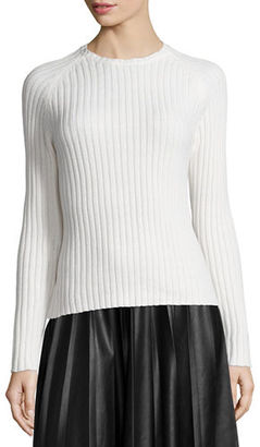 Neiman Marcus Long-Sleeve Ribbed Knit Sweater $165 thestylecure.com