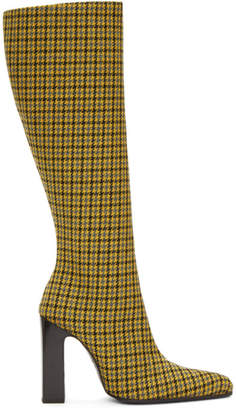 Balenciaga Yellow Houndstooth Tall Boots