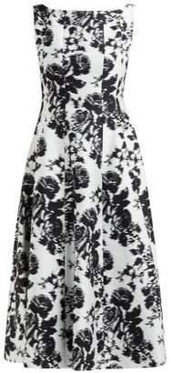 Erdem Kinsey Rosechine Jacquard Cotton Blend Midi Dress - Womens - Black White