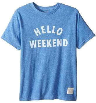 Original Retro Brand The Kids Hello Weekend White Print Short Sleeve Tee Boy's T Shirt