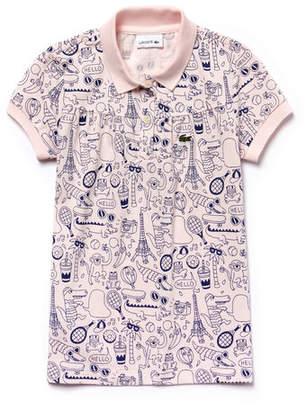 Lacoste Girls' OMY Edition Mini Piqué Print Polo