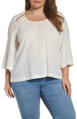 Melissa McCarthy Embroidered Bell Sleeve Skimmer Top (Plus Size)