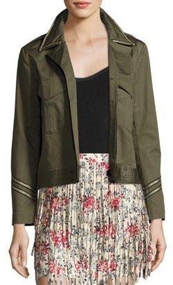 Zadig & Voltaire Kalen Cotton Button-Front Jacket, Olive $328 thestylecure.com