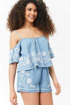 Forever 21 Open-Shoulder Chambray Cami