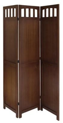 Winsome Wood William 3-Panel Folding Room Divider, Walnut Finish