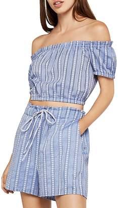 BCBGeneration Off-the-Shoulder Stripe Crop Top