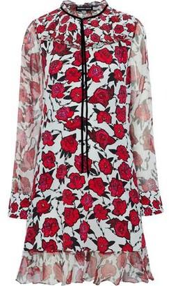 Markus Lupfer Alana Metallic Georgette-Trimmed Floral-Print Silk Dress