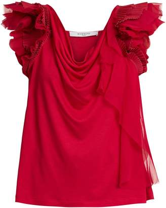 Givenchy Ruffle-trimmed jersey top